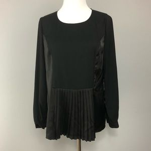 The Limited Black Silky Pleated Blouse Top XS